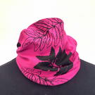 Handmade lined pink and black leaf hand print, neck warmer, snood scarf