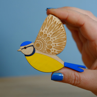 Wooden Etched Folk Art Blue Tit Brooch - Hand Painted