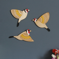 Folk Art Inspired Flying Wooden Goldfinches - Wall decor Hangings