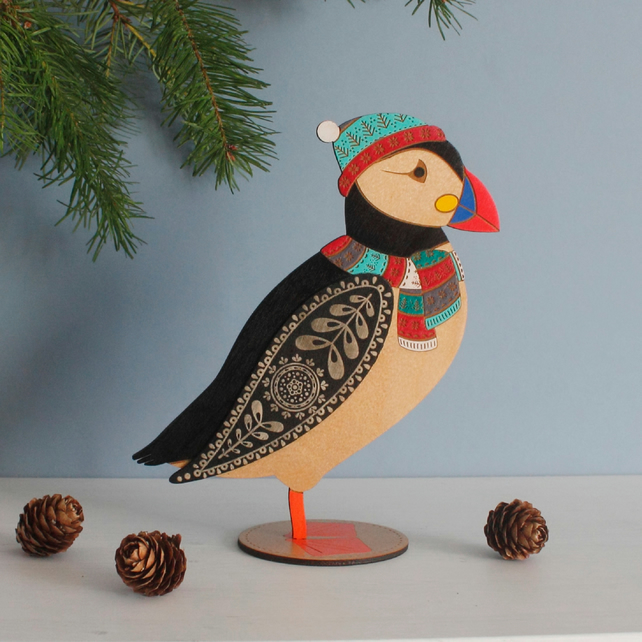 Winter Edition Standing Wooden Puffin - Hand Painted
