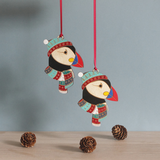 Winter Wooden Puffin Christmas Decoration - Hand Painted