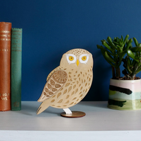 Standing Wooden Little Owl Decoration Ornament - Hand Painted