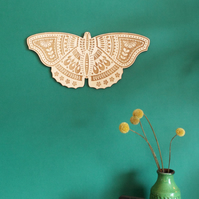 Wooden Etched Folk Art Butterfly Wall Hanging