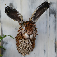 Hare sculpture - wall mounted art - rabbit sculpture - mixed media - clay art