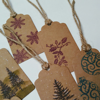 Set of 3 Christmas Tags, Hand Printed, Stag, Tree, Snow, Winter Scene, Gift tag
