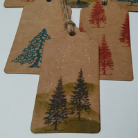 Set of 3 Christmas Tags, Hand Printed, Gift Tag, Trees, Winter Scene, Wrapping