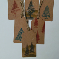 6 Christmas Tags, Hand Printed, Gift tags, Trees, Winter Scene, Wrapping