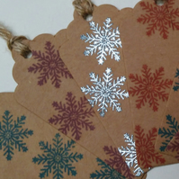 6 Christmas Tags, Hand Printed, Gift tags, Snow Flakes, Winter Scene, Wrapping