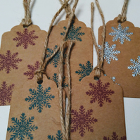 Set of 3 Christmas Tags, Hand Printed, Snow Flakes, Winter Scene, Wrap, Gift tag