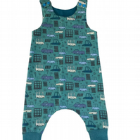 Harem dungarees with vehicle design, baby grow,  size 3-6 months