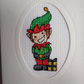 Cheeky elf cross stitch Christmas card