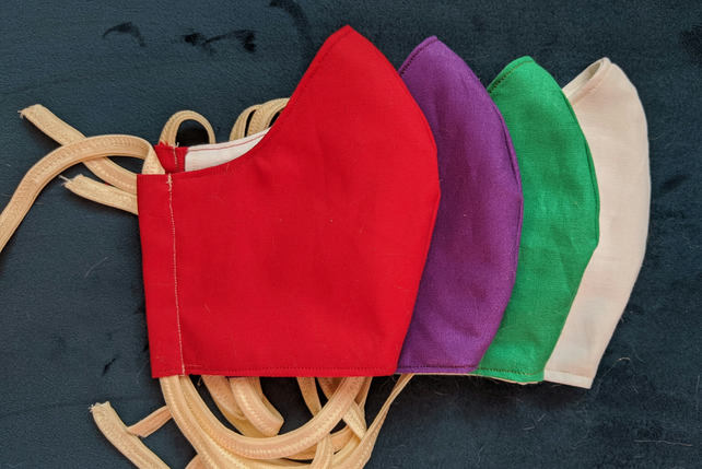 Set of four solid colour face coverings in liturgical colours