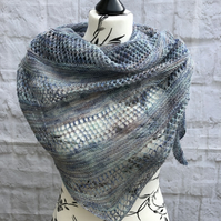 Luxurious Hand Knitted Lace Weight Merino Wool and Silk Shawl Wrap