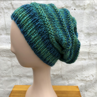 Hand Knitted Slouchy Chunky Yarn Beanie Hat