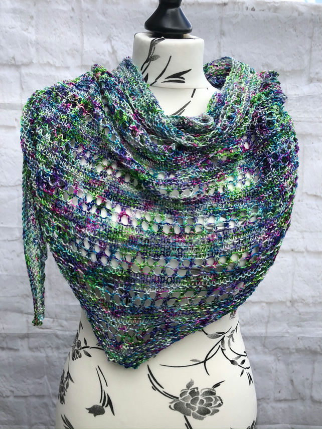 Silk and Merino Wool Hand Knitted Triangular Shawl