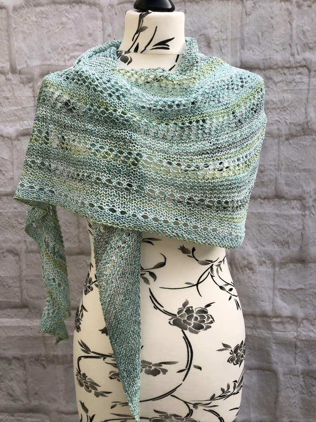 Handknit Cotton Lightweight Shawl Mint Green