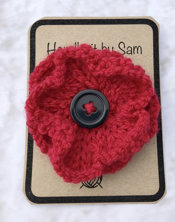 Red Knitted Flower Brooch