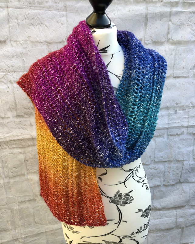 Hand Knitted Long Rainbow Scarf Wrap
