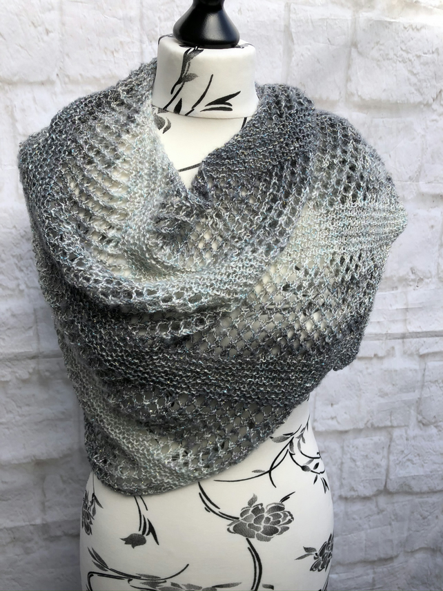 Hand knitted  Asymmetrical Shawl with Metallic Sparkle