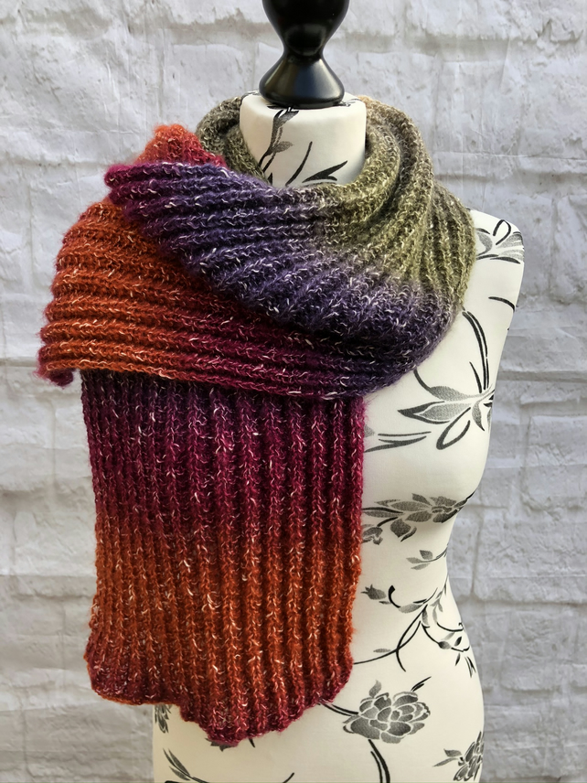 Hand Knitted Multicoloured Scarf