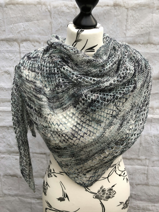 Hand Knitted Hand Dyed  Wool and Silk Shawl