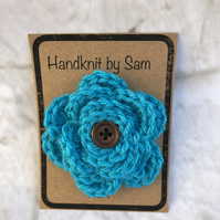 Turquoise Blue Crochet Flower Brooch