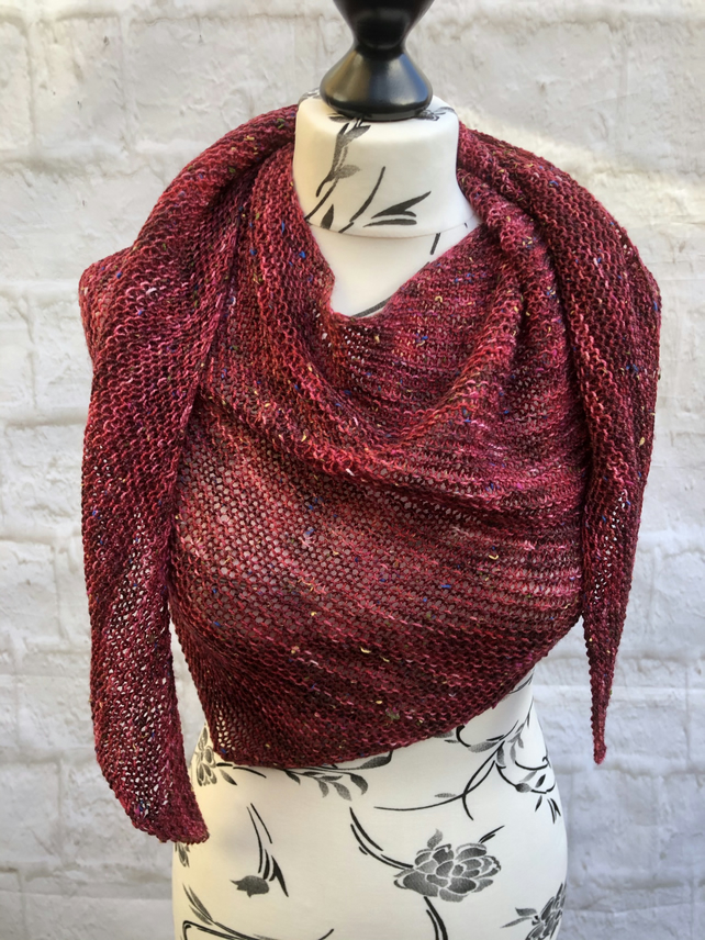 Hand Knitted Garter Stitch Merino Wool Red Tones Shawl