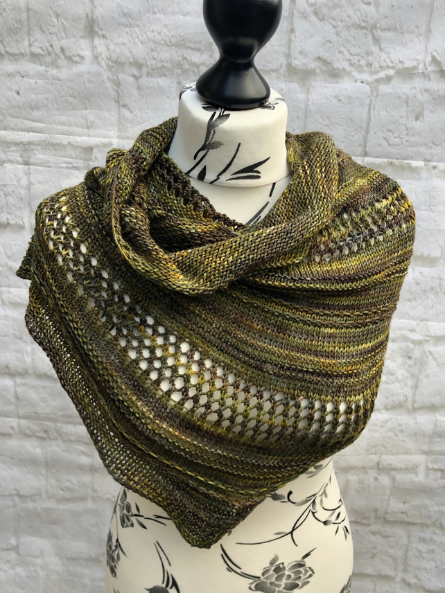 Merino Wool Hand Knitted Asymmetrical Shawl