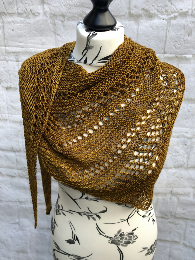 Hand Knitted Asymmetrical Merino Wool Shawl