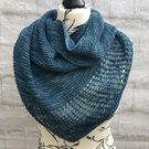 Hand Knitted Lightweight BFL Wool Shawl in Marine Blue Tones