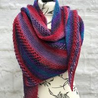 Hand Knitted Multicoloured Wool and Acrylic Blend Triangular Shawl
