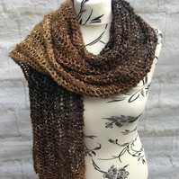 Hand Knitted Brown Lace Stitch Scarf with Metallic Thread