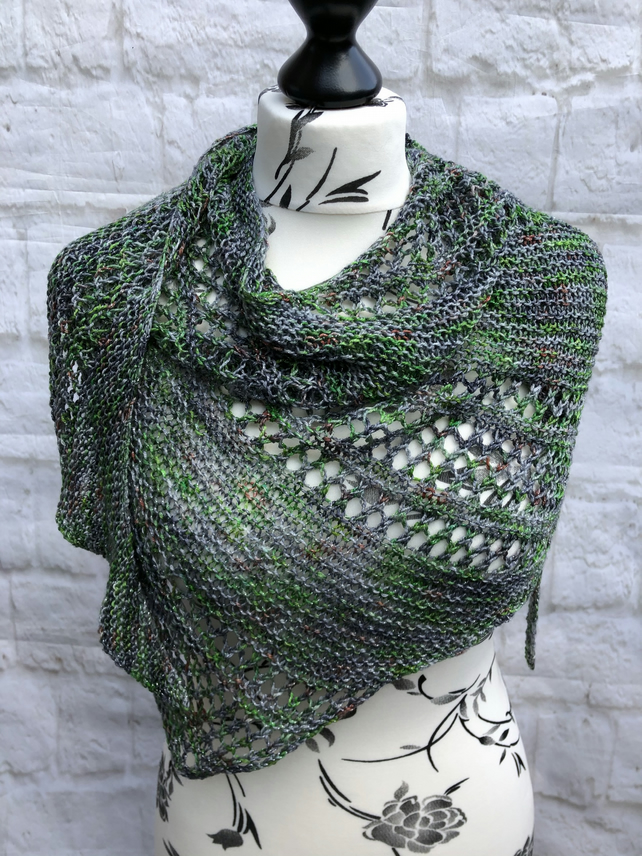 Merino Wool Hand Knitted Shawl in Grey and Green