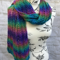 Hand knitted multicoloured acrylic scarf with metallic sparkle