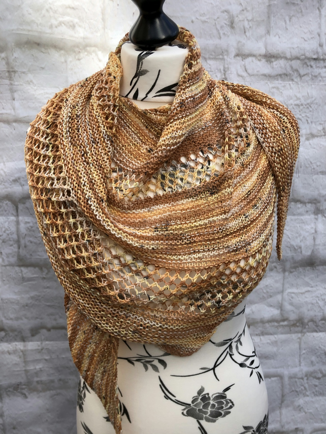 Hand Knitted Merino Wool Shawl in Variegated Spiced Pumpkin Tones
