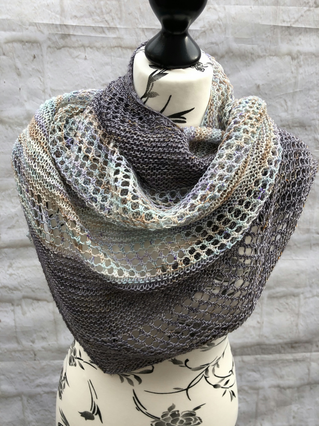 Hand Knitted Colourblock Shawl BFL, Merino Wool and Linen
