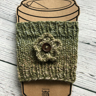 Handknit Travel Cup Cosy with Flower Trim