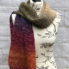 Handknit Cotton and Acrylic Blend Multicoloured Scarf