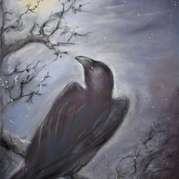 RAVEN MAGIC GREETING CARD -  RECYCLED  SPIRITUAL SHAMANIC ANIMAL PAGAN NEW AGE