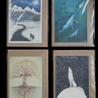 ANY 4 GREETING CARDS  - FREE UK DELIVERY, NEW AGE, ANIMALS, SPIRITUAL, MAGICA