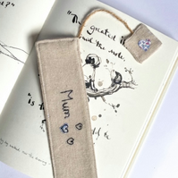 Personalised bookmark, fabric bookmark, book lover gift