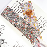 Liberty glitter bookmark, fabric bookmark, book lover gift