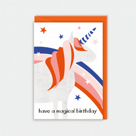 Unicorn birthday card - unicorn - magical - rainbow