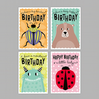 Kids birthday card multi-pack - pack of four mixed designs