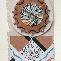 Hand embroidered Brooch on a card, gift for her. Art Deco textile art card.