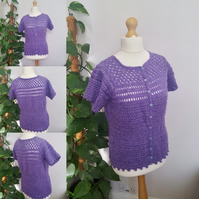 Half sleeved lady's purple blouse with buttons. U.K size 12 to 14. Lacy. Bespoke