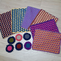 Set of 6 table mats and coasters. Perfect for dinner table decor.