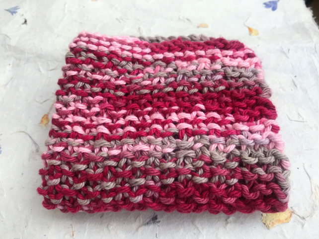 Cotton wash cloth - seed stitch hand knit.