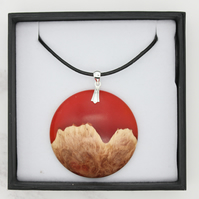 Landscape wood and resin hybrid pendant - Red