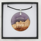 Landscape wood and resin hybrid pendant - Purple